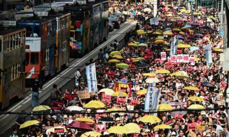 enorme protesto em hong kong
