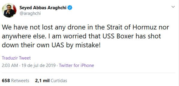 tweet funcionario iraniano sobre drone ira abatido